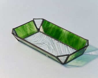 Wood grain clear and green stained glass tray