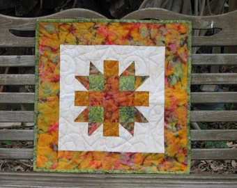 Quilts for Sale - Table Topper- Rust,Gold and Green Batik Quilted Topper