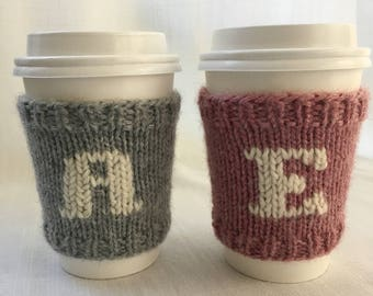 Knit Coffee Sleeve, Coffee Cozy, Monogram, Cup Cozy, Teacher gift, Stocking Stuffer, Hostess Gift, Cup Sleeve, Monogram Cozy