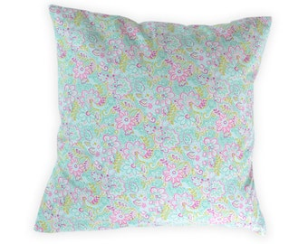 Pink Green Pillow Cover -  Pink Green Throw Pillow - Floral Cushion Cover