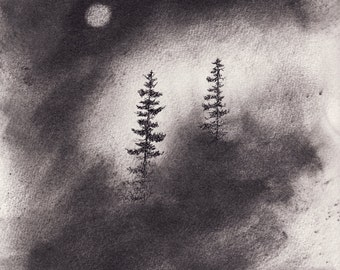 Let's Meet Where It's Clear ORIGINAL CHARCOAL and INK drawing