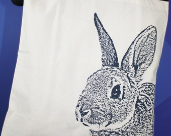 Rabbit Tote Bag in Navy, Rabbit Bag, Rabbit Lover Gift, Bunny Tote