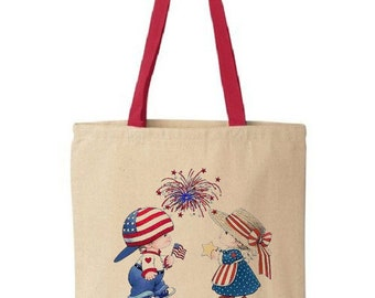 Cotton Canvas Tote Bag - Fourth of July - Gift Bags - Red