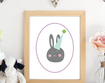 Bunny Printable. Bunny Party. Bunny Nursery. Printable Wall Art. Nursery Decor. Party Decor.Baby Gift. Gift For Her. Easter.