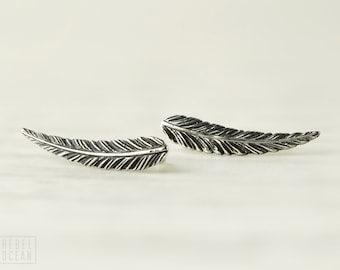 Sterling Silver Ear Cuff Feather Ear Climber Pin Earrings Boho Jewelry - FES018