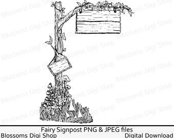 Fairy signpost, digital download, fairy digi stamp, hand drawn clip art, fairie clipart, faery line art, coloring png, sign post jpeg