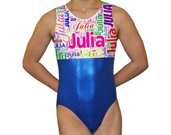 Personalized Gymnastics Leotard for Girls | Subway Art Leotard | Dance Leotard | Blue Bodysuit | Child, Toddler & Adult by AERO Leotards