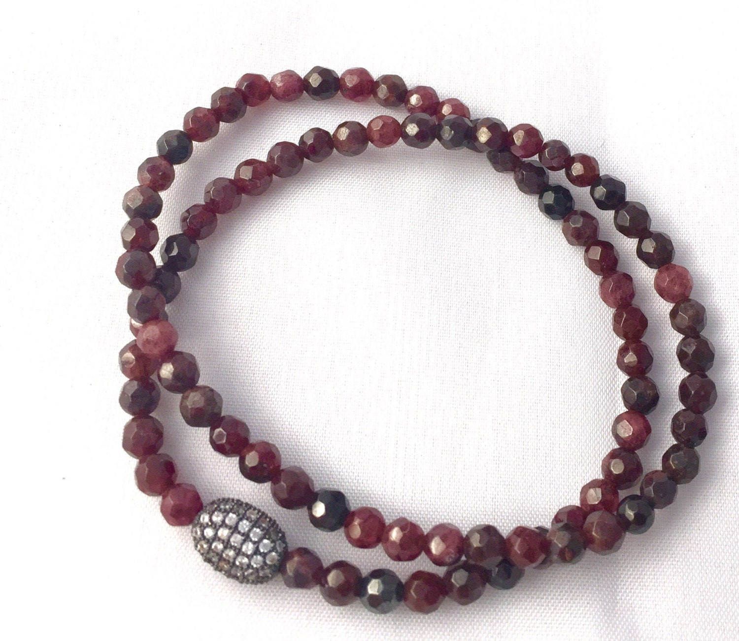 in tennis garnet white bracelet red gold