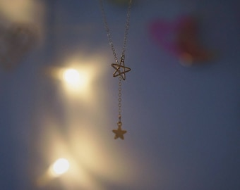 Double star adjustable charm Necklace