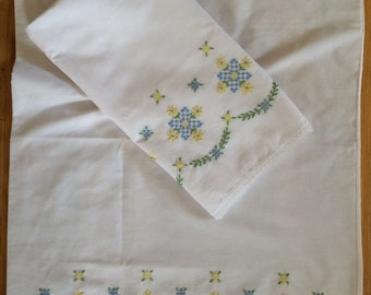 Vintage Embroidered Pillowcases Blue Squares
