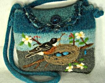 Felted Purse, Felted Handbag, Robin Art, Bird Art, Needle Felt Bird