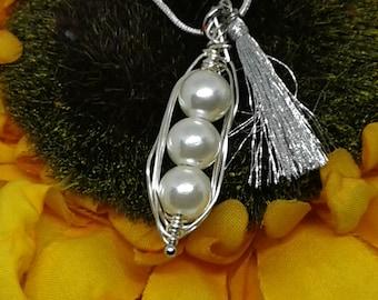 Three Peas in a Pod - wire wrap necklace - silk tassel