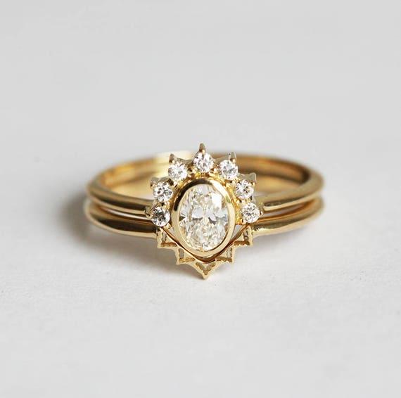 Diamond Ring Set Oval Diamond Ring Lace Wedding Ring V