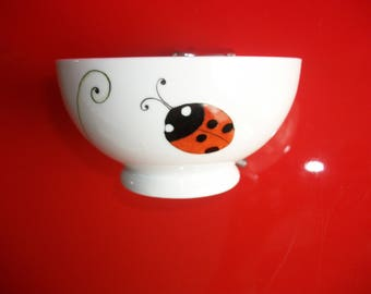 """Bowl decorated with """"Clover and ladybugs"""" Limoges porcelain bowl hand painted Bowl, Bowl child, adult"""