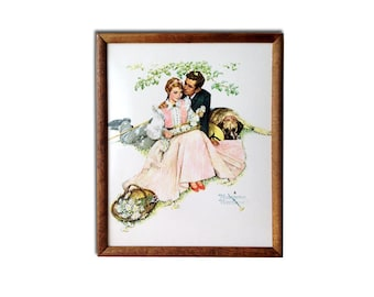"Norman Rockwell ""Four Seasons of Love: Courting Couple"" 1955 Laminated Framed Print"