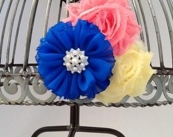 Hair clip: Royal blue, yellow and coral hair clip, girls hair accessory flower hair clip, yellow hair clip, blue hair clip, coral hair clip