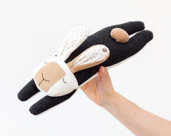 Flying Rabbit, Bunny, Hare, Plush for babies, Small Pillow, Design Object - Handmade in Italy, Original Design, Birth Gift, Children Toy