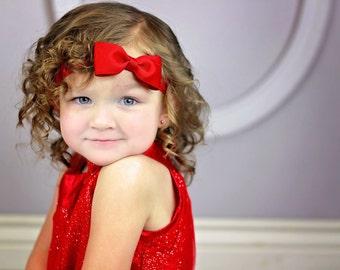 Red Bow Headband, Red Headband, Fall Headband, Christmas Headband, Red Hair Bow, Valentines Day Headband, Red Bow, Toddler Headband
