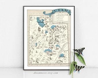 Utah map etsy utah map print vintage picture map print to frame perfect housewarming or wedding gift gumiabroncs Images