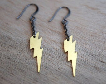 Ziggy earrings - gunmetal plated metal hooks with solid brass lightning bolt charms - David Bowie / Ziggy Stardust / Rocker / Rock and Roll