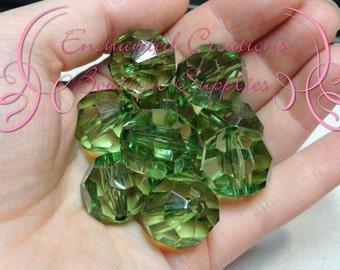20mm Transparent Emerald Faceted Acrylic Beads Qty 10
