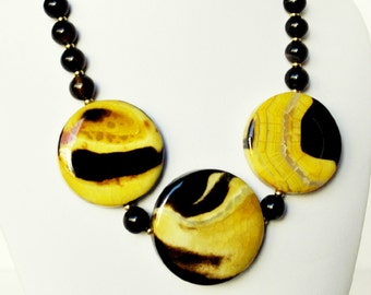 Yellow Agate Necklace and Black Handmade Beaded Jewelry with Gold Beaded Necklace