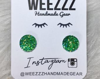Emerald Green 12mm Earrings