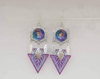 Purple flower swirl earrings