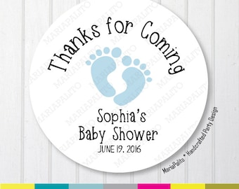 Baby Shower Stickers, Thank You Baby Feet Stickers, Thank You Labels, PRINTED round Stickers, tags, Labels or Envelope Seals A1264