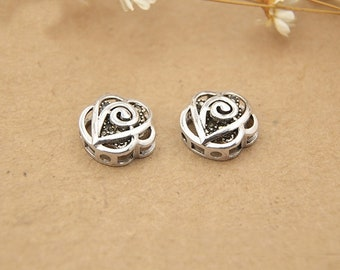 925 sterling silver marcasite rose heart beads, ethnic beads,sliding beads bracelet diy, marcasite with silver