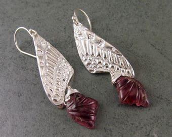 Pink tourmaline butterfly earrings, handmade eco friendly fine silver and carved tourmaline earrings-OOAK