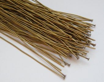 50 Head pins antique bronze 3 inches or 7.62cm 22 gauge A5377FN