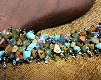 SALE #HonorSacrifice ~ Beaded Stone Chip Bracelet - Mixed #2
