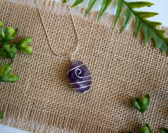 Amethyst | Silver Wire Wrapped Crystal Necklace