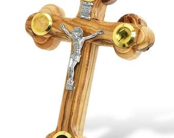 Bethlehem Olive Wood Orthodox 14 Stations Wall Cross 4 Lens Crucifix with Holy Essences