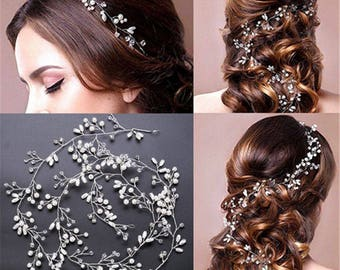 Pearl Wedding Hair Vine Crystal Bridal Accessories Diamante Headband Bridal Hairpiece Crystals