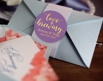 Love is Brewing, Custom Labels - Personalized Stickers -  Round Stickers - Wisteria Gold  - Color Coordinated - Wedding Decor - Thank you
