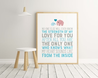 No One Else Will Ever Know The Strength Of My Love For You, Baby Boy, Nursery Art, Blue, Grey, Nursery Decor, Mother and Son, Wall Art, Love