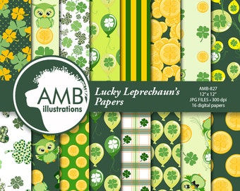 Lucky Leprechaun Digital Papers, St Patricks Day, Irish Owls Digital Papers, Shamrock Digital Paper, Scrapbooking Patterns, AMB-827