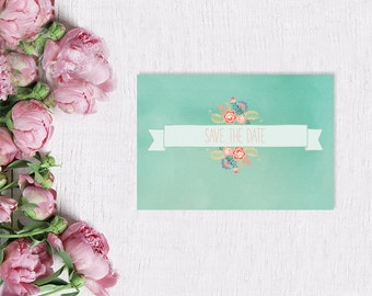 Mint Save The Date Cards for Shabby Chic Weddings / Watercolor Paper w/ Coral Pink & Coral Peach Flowers / PRINTED Save-The-Date Cards