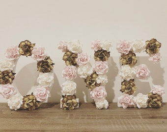 Set of 3 Floral Wooden Letters for a First Birthday - ONE *ready to be shipped*