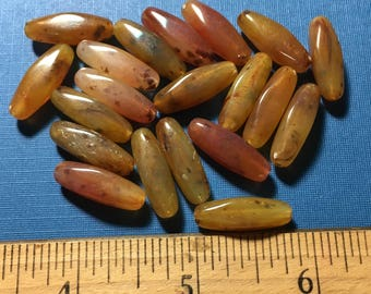 Vintage Lucite Faux Agate Bicone Bead Lot new old stock browns, greens, yellows, and pinks