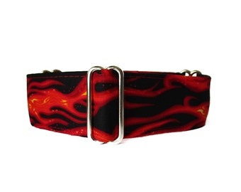 Flames Martingale Collar, 2 inch Martingale Collar, Flames Dog Collar, Flames Dog Collar, Red and Black, Custom Dog Collar