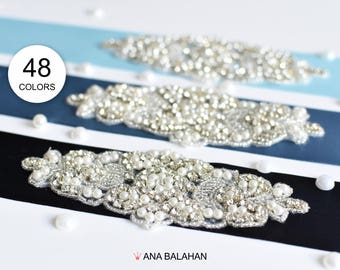 Satin belt with Rhinestone applique, Beaded sash, Flower girl sash, Bridesmaid belt, Wedding sash, Satin ribbon 5 cm - 48 beautiful colors
