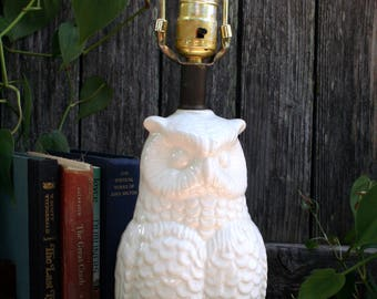 SALE  Solid White Owl Table Lamp