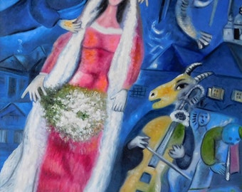 """36"""" x 24"""" My oil on canvas hand painted reproduction of Marc Chagall's 1950 """"La Marriee"""" (The Bride). Buy direct from the artisit."""
