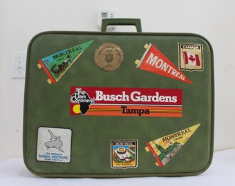 Vintage Travel Suitcase with Souvenir Stickers, Vintage Green Luggage, Vintage Travel Decor, Vintage Suitcase, Vintage Green Suitcase