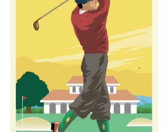 Vintage Golf Poster, Vintage Golf Print, Vintage Sports Print, Art Deco Poster, Golf Poster, Golf Print, Sports Poster, Sports Print,