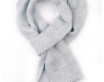 Babies/Children's/Toddler's merino wool Scarf with lace pattern/spring/gift/blue/gray