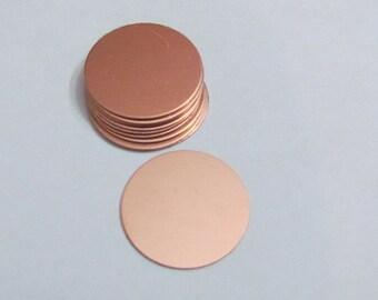 "1"" Copper Circles - copper blanks - 22 G- round blanks - stamping blanks - hand stamping blanks 5 or more"